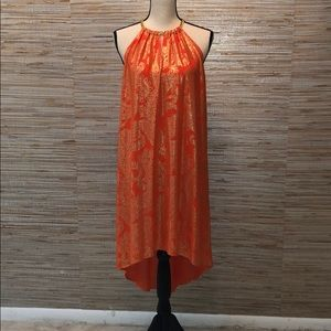 Orange and gold cocktail dress